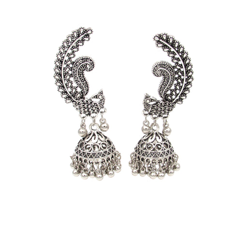 Buy Online Oxidised Peacock Jhumki for women - Samreedhi Handicrafts