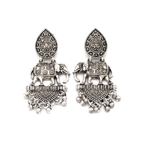 Buy Online Oxidised Silver Elephant Earrings 1- Samreedhi Handicrafts