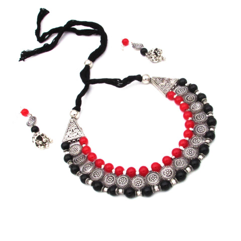 Buy Online Oxidised Trendy Choker Necklace Set - Samreedhi Handicrafts