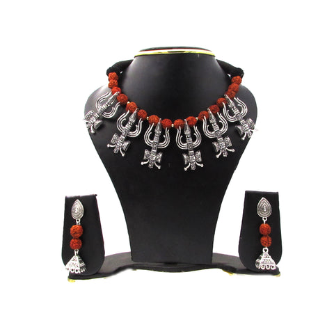 Buy Online Oxidised Trisul Choker Necklace Set for women - Samreedhi Handicrafts
