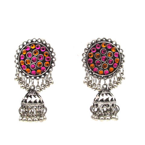 Buy Online Oxidised multi color light weight jhumka for women - Samreedhi Handicrafts