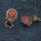 Buy Online Oxidised multi color light weight jhumka for women 1- Samreedhi Handicrafts