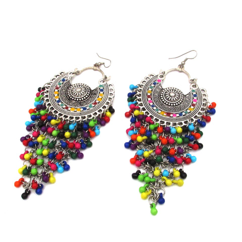 Buy Online Oxidised multi colour Chandbali earrings for girls 1- Samreedhi Handicrafts