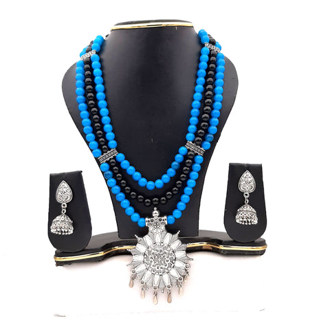 Buy Online Oxidised multi layer black sky jewellery set - Samreedhi Handicrafts