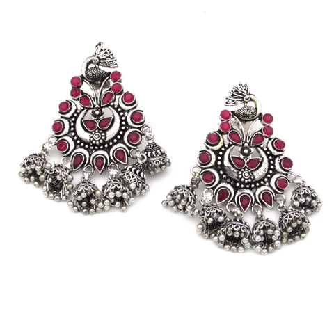Buy Online Oxidised red minakari Peacock Jhumka earrings - Samreedhi Handicrafts