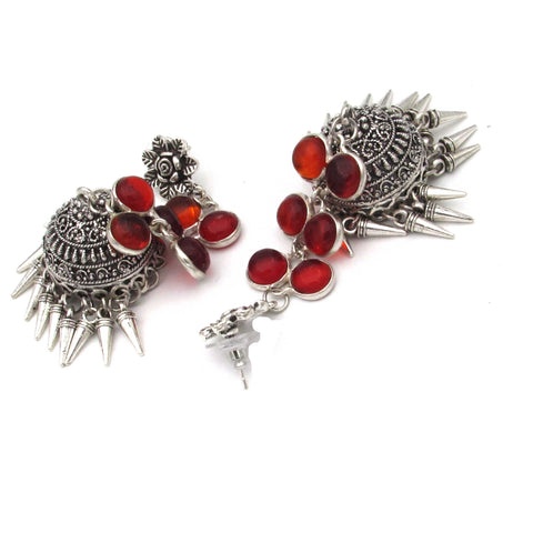 Buy Online Oxidized Silver red Jhumka Jhumki Earrings for Women and Girls 1 - Samreedhi Handicrafts