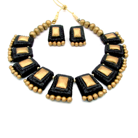 Buy Online Terracotta Black Golden Choker Necklace 3- Samreedhi Handicrafts