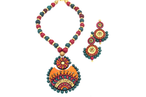 Buy Online Terracotta Jewellery Jewelry set round shape pendant 1- Samreedhi Handicrafts
