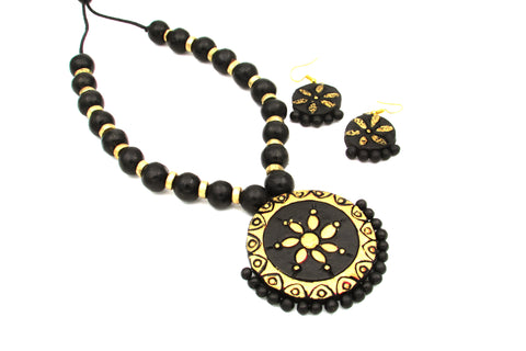 Buy Online Terracotta Jewellery Jewelry simple black floral set pendant 1 - Samreedhi Handicrafts