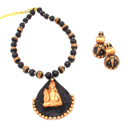 Buy Online Terracotta Jewellery Set Black Bronze with Lord Shiva Pendant - Samreedhi Handicrafts
