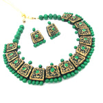 Buy Online Terracotta Jewellery Set Green Golden Choker 1- Samreedhi Handicrafts