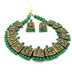 Buy Online Terracotta Jewellery Set Green Golden Choker 2- Samreedhi Handicrafts