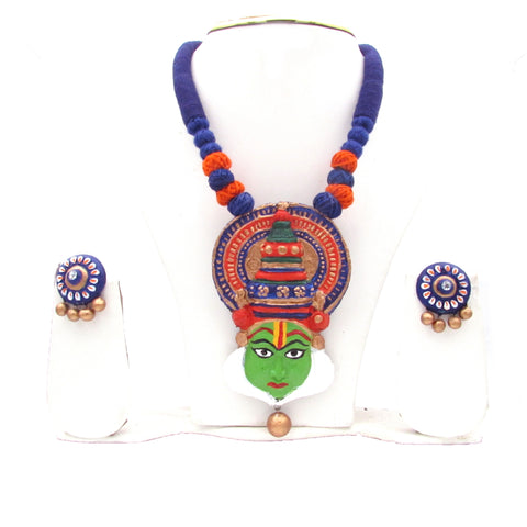 Buy Online Terracotta Jewellery Set Kathakali Pendant for her - Samreedhi Handicrafts