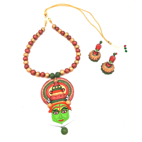 Buy Online Terracotta Jewellery Set Kathakali Pendant with Jhumka earrings 1 - Samreedhi Handicrafts