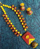 Buy Online Terracotta Jewellery Set Lotus Pendant 1 - Samreedhi Handicrafts