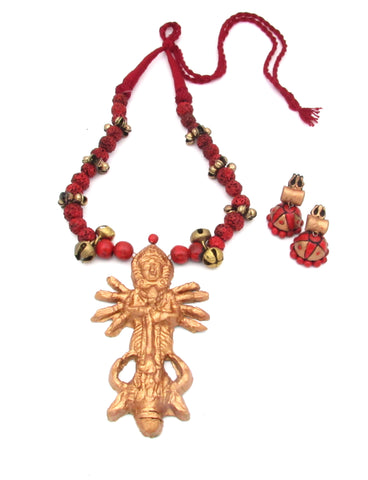 Buy Online Terracotta Jewellery Set Maa Durga Pendant - Samreedhi Handicrafts