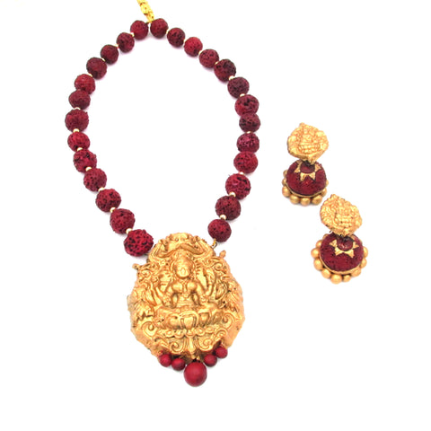 Buy Online Terracotta Jewellery Set Maha lakshmi Pendant for her - Samreedhi Handicrafts