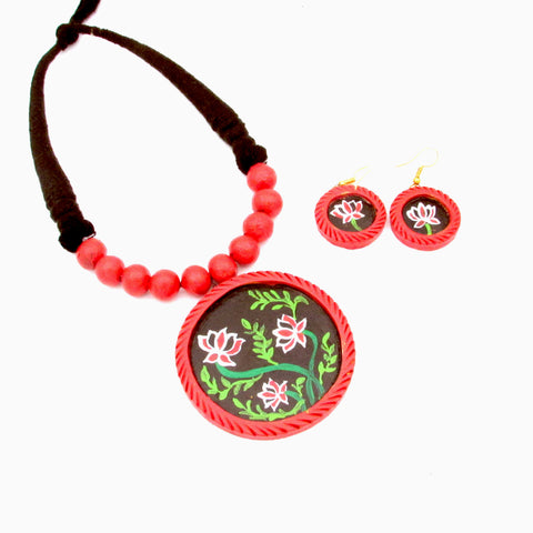 Buy Online Terracotta Jewellery Set black trendy artistic pendant 1- Samreedhi Handicrafts