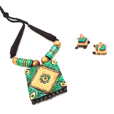 Buy Online Terracotta Jewellery Set daily wear square pendant for women - Samreedhi Handicrafts