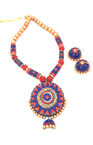 Buy Online Terracotta Jewellery Set grand round shape pendant - Samreedhi handicrafts