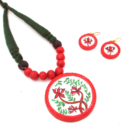 Buy Online Terracotta Jewellery Set hand painted artistic pendant 1- Samreedhi Handicrafts