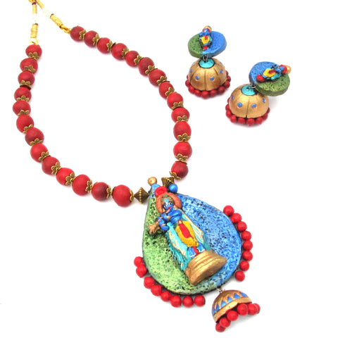 Buy Online Terracotta Jewellery Set with Krishna Pendant 3- Samreedhi Handicrafts