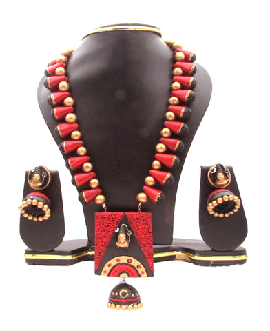 Buy Online Terracotta Jewellery Set with Lord Shiv Ji Pendant 2 -Samreedhi Handicrafts