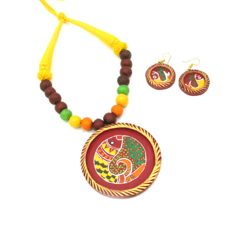 Buy Online Terracotta Jewellery Set with Madhubani fish Pendant 2- Samreedhi Handicrafts