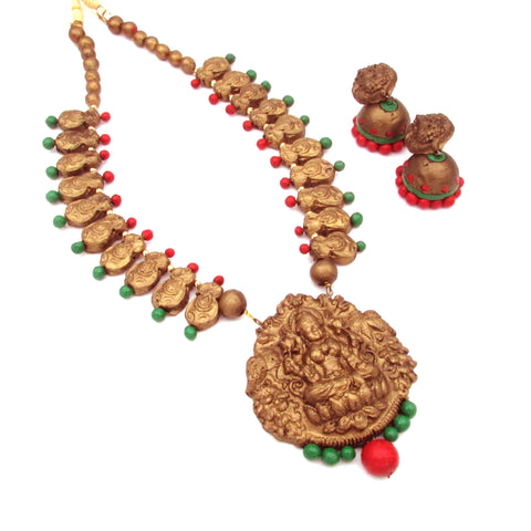 Buy Online Terracotta Jewellery Set with Mahalakshmi Pendant 3- Samreedhi Handicrafts