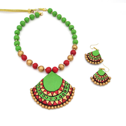 Buy Online Terracotta Jewellery Set with Paroot green trendy Pendant for women 1- Samreedhi Handicrafts