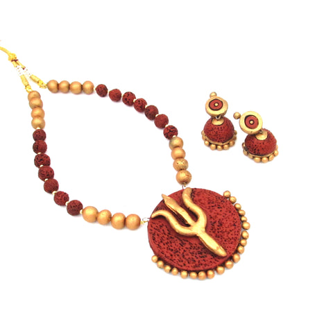 Buy Online Terracotta Jewellery Set with Trishul Pendant for women - Samreedhi Handicrafts