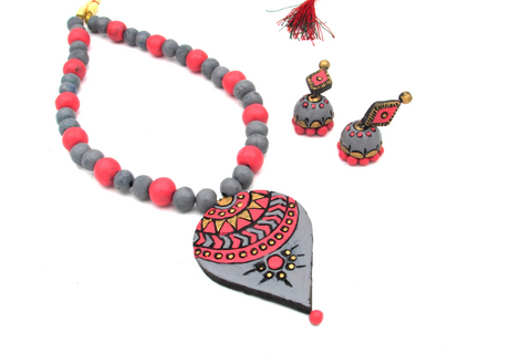 Buy Online Terracotta Jewellery Set with grey pendant for women 1- Samreedhi Handicrafts