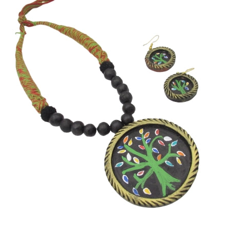Buy Online Terracotta Jewellery Set with hand painted Pendant 1- Samreedhi Handicrafts