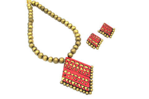Buy Online Terracotta Jewellery Set with red square pendant - Samreedhi handicrafts