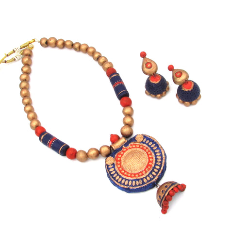 Buy Online Terracotta Jewellery Set with round shape jhumka pendant 2- Samreedhi Handicrafts