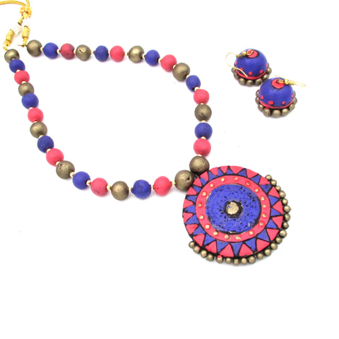 Buy Online Terracotta Jewellery Set with round shape pendant for women - Samreedhi Handicrafts
