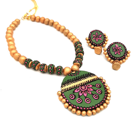 Buy Online Terracotta Jewellery Set with unique round shape pendant 1- Samreedhi Handicrafts
