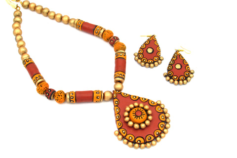 Buy Online Terracotta Jewellery jewelry Set grand artistic pendant - Samreedhi Handicrafts