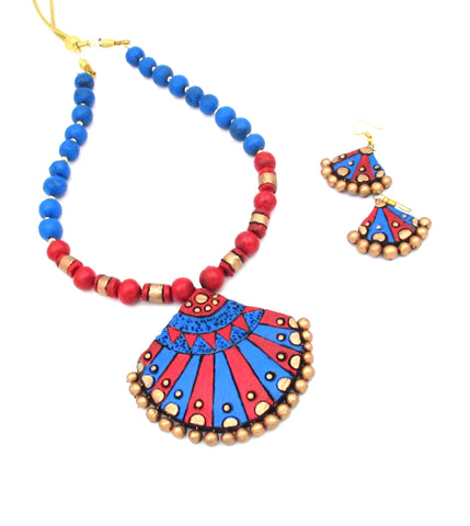 Buy Online Terracotta Jewellery jewelry Set with blue pendant 1- Samreedhi Handicrafts
