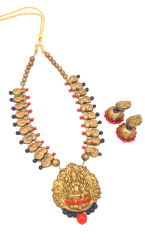 Buy Online Terracotta Jewellery set Mahalakshmi pendant set - Samreedhi Handicrafts