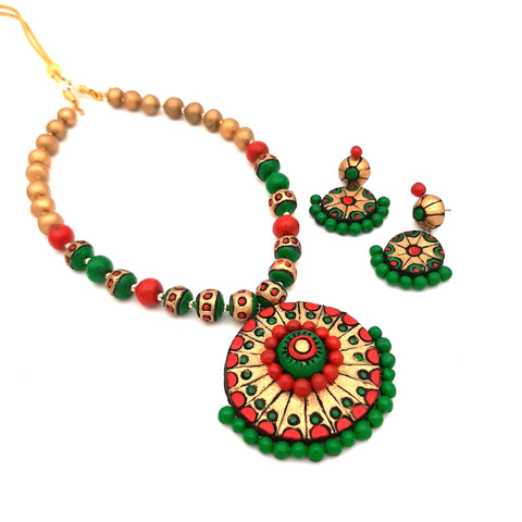 Buy Online Terracotta Jewellery set with artistic round pendant- Samreedhi Handicrafts