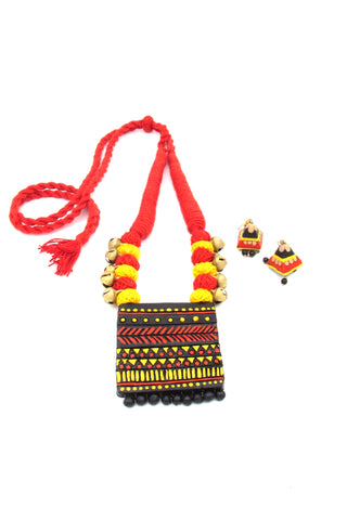 Buy Online Terracotta Jewellery set with black base square pendant 1- Samreedhi Handicrafts