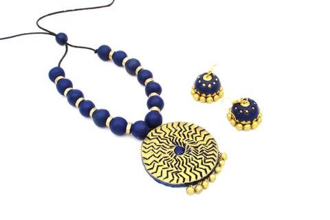 Buy Online Terracotta Jewellery set with blue round shape pendant - Samreedhi Handicrafts