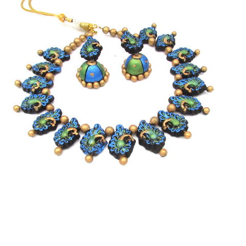 Buy Online Terracotta Peacock choker necklace set 2- Samreedhi Handicrafts