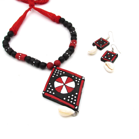 Buy Online Terracotta daily wear jewellery Set with cori pendant - Samreedhi Handicrafts