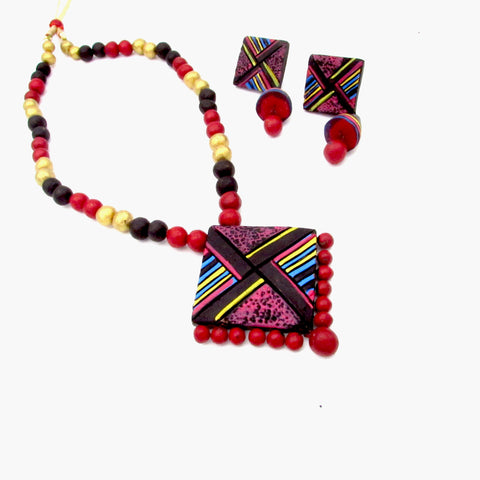 Buy Online Terracotta multi color necklace jewelry set 1- Samreedhi Handicrafts