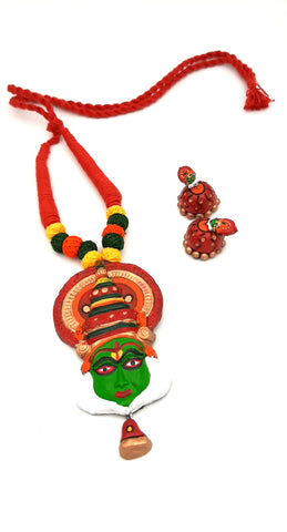 Buy Online Terracotta trendy Jewellery Set Kathakali pendant - Samreedhi Handicrafts