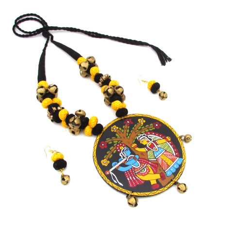 Buy Online Trendy artistic jewellery set with Radha Krishna pendant for women 6- Samreedhi Handicrafts