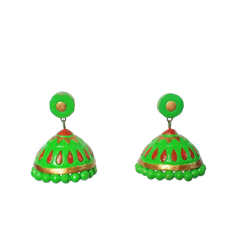 Buy Online Big Terracotta green Jhumka Jhumki - Samreedhi Handicrafts