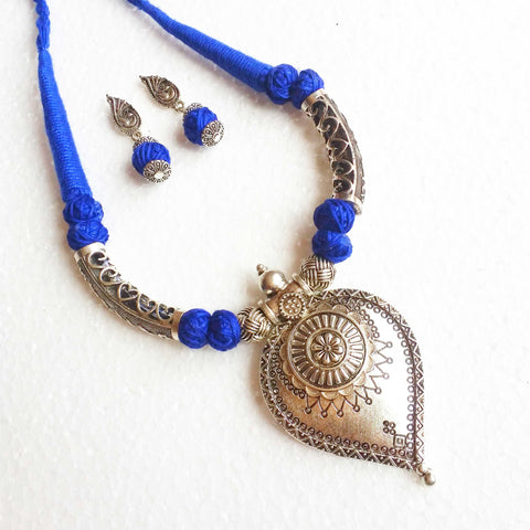 Buy Oxidised Jewellery Set with Blue cotton beads - Samreedhi Handicrafts